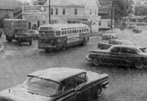 1964 Brockton, West & Pleasant St. looking at Moore's Paint Store where DeAngelo's Sandwich Shops began in 1967