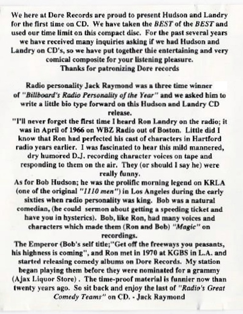 Best of Hudson and Landry Greatest Hits CD liner notes (1996)
